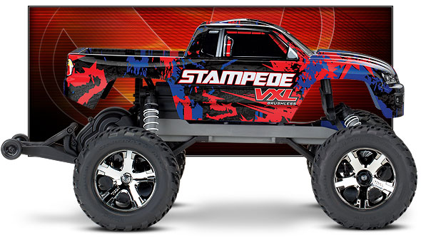 Stampede VXL (#36076-4) Side View (Red)