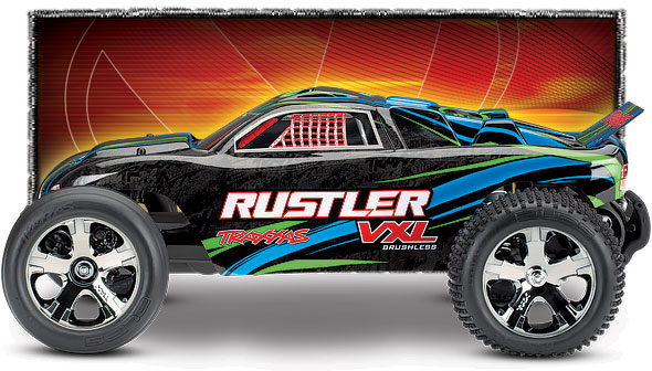 Rustler VXL (#37076-4) Side View (Green)