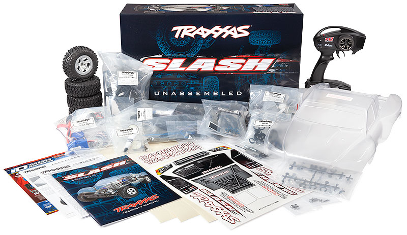 Slash 2WD Unassembled Kit (#58014-4) Contents and Box Packaging
