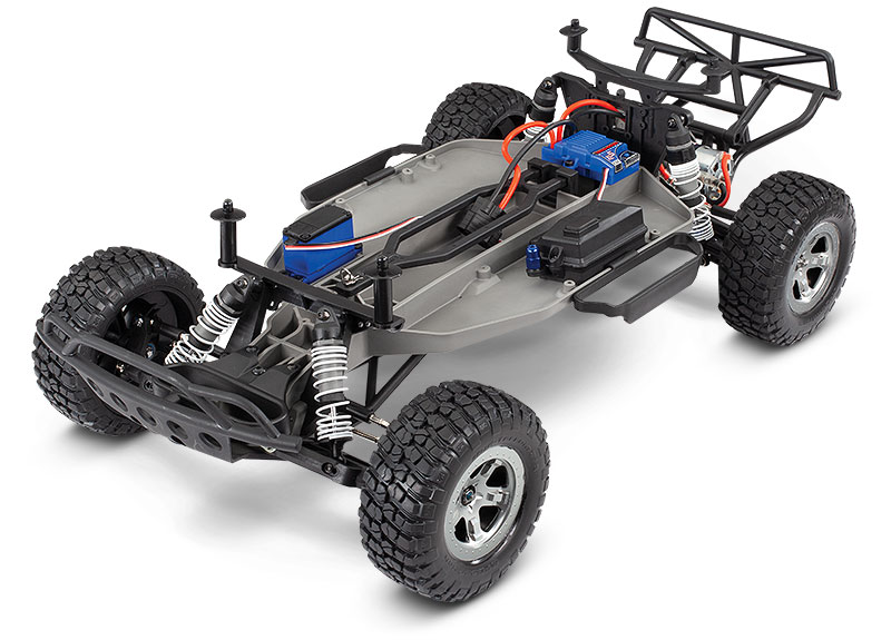 Slash 2WD Unassembled Kit (#58014-4) Chassis Three-Quarter View (shown as assembled)