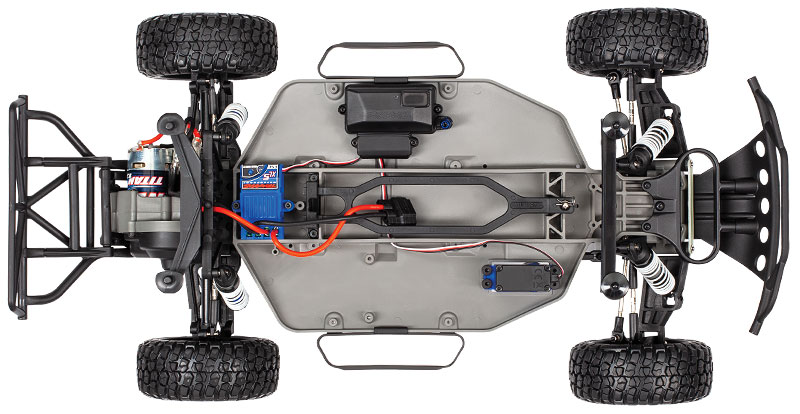 Slash 2WD Unassembled Kit (#58014-4) Chassis Top View (shown as assembled)