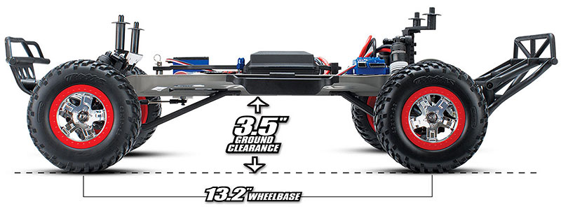 3.5-inches Ground Clearance and Long-Wheelbase Chassis (Slash #58034-1/#58034)