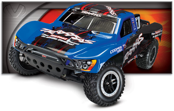 Slash VXL (TSM) (#58076-4) Three-Quarter View (Traxxas Blue Race Edition)