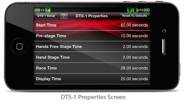 DTS-1: Properties Screen (Traxxas Link App)