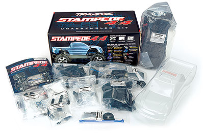 Stampede 4X4 Unassembled Kit (#67010-4) Contents and Box Packaging
