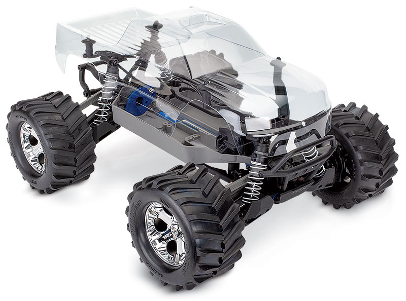 Stampede 4X4 Unassembled Kit 67010-4 Clear Body Three-Quarter Front View shown as assembled