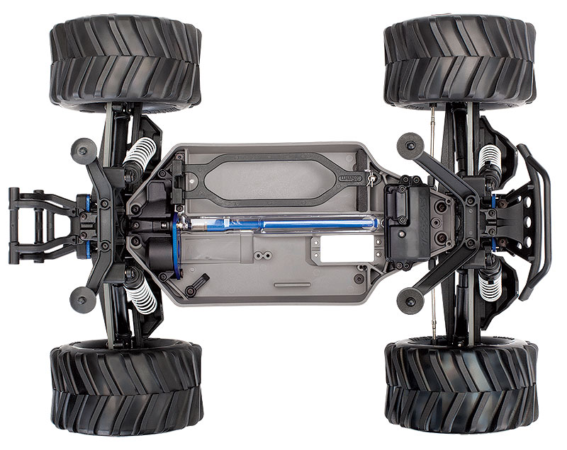 Stampede 4X4 Unassembled Kit 67010-4 Overhead Chassis View shown as assembled