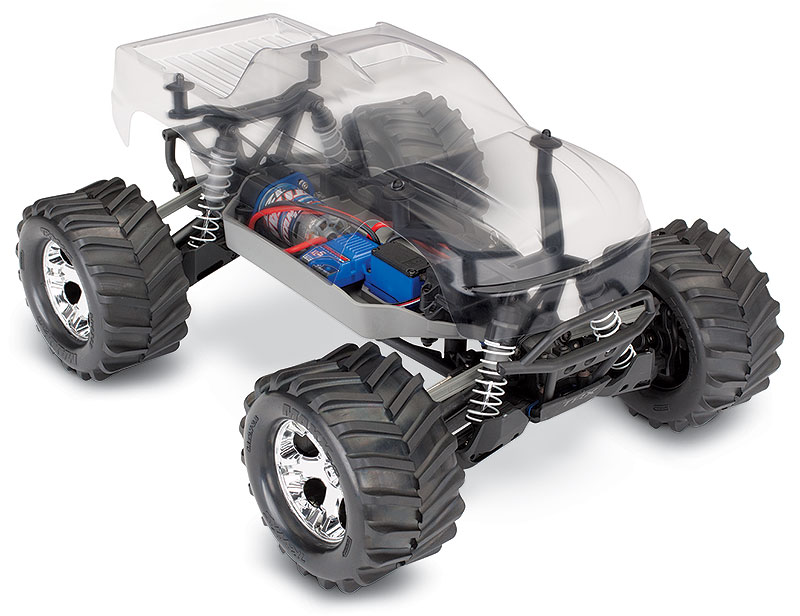 Stampede 4X4 Unassembled Kit (#67014-4) Clear Body Three-Quarter View (shown as assembled)