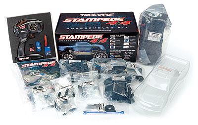 Stampede 4X4 Unassembled Kit (#67014-4) Contents and Box Packaging
