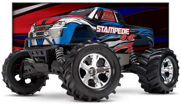 Stampede 4X4 Brushed (#67054) Low Three-Quarter View (blue)