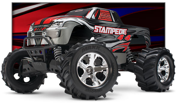 Stampede 4X4 Brushed (#67054) Low Three-Quarter View (silver)