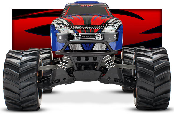 Stampede 4X4 Brushed (#67054) Front View (blue)