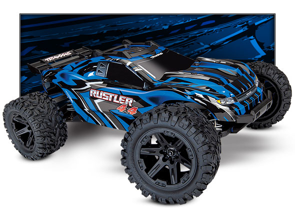 Rustler 4X4 (#67064-1/#67064-4) Three-Quarter View (Blue)