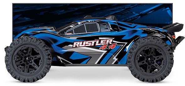 Rustler 4X4 (#67064-1/#67064-4) Side View (Blue)