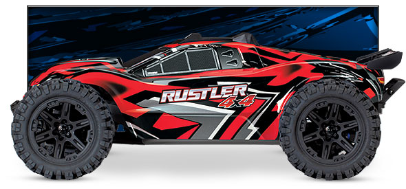 Rustler 4X4 (#67064-1/#67064-4) Side View (Red)