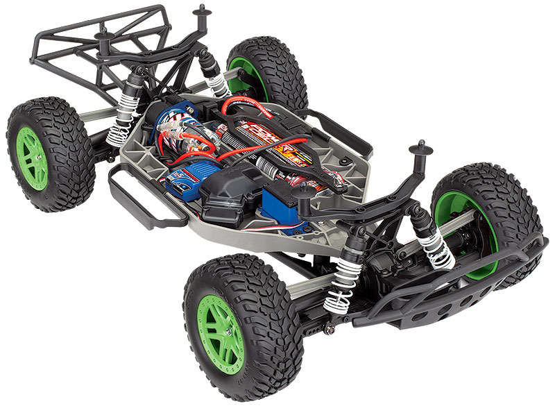 Slash 4X4 (#68054-1) Three Quarter Chassis View (Green)