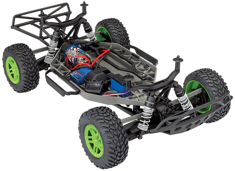 Slash 4X4 (#68054-4) Three-Quarter Chassis View (Green)