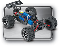 1/16th E-Revo VXL (#71076-3) Three-Quarter Chassis View