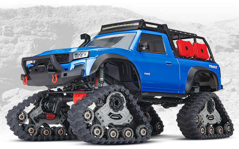 TRX-4 Equipped with TRAXX (#82034-4) Front Three-Quarter View (Blue)