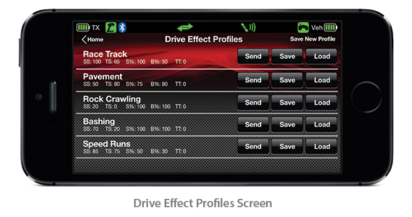 Drive Effect Profiles Screen (Traxxas Link App)