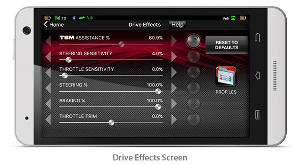 Drive Effects Screen (Traxxas Link App)