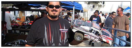 Martin Gaona represents! Like his Traxxas T-shirt? It's the same one the Traxxas pit crew guys wear when they wrench on the full-size Traxxas Pro 2 and Pro 4 race trucks.