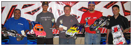 Open Class winners (left to right): Ray Velasquez (fourth), Jake McGarvey (second), Greg Hodapp (winner), Ed Garcia (third) and Mark Dawson (fifth).
