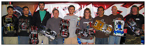 "Slayer Class winners (left to right): Steve Wang (eighth), James Revilla (seventh), Mike McMahon (fourth), Greg Hodapp (second), Aaron Waldron (winner), Holli Bechard (third), Andy Jacobson (ninth), Dan Discenza (fifth), and Jeff ""Havoc"" Holman (sixth)."