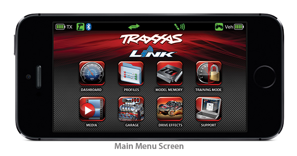 Main Menu Screen (Traxxas Link App)