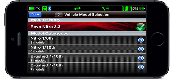 Vehicle Model Selection Screen (Traxxas Link App)