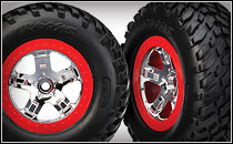 SCT Chrome Wheels & Tires (red beadlocks)
