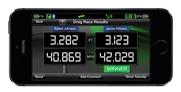 DTS-1: Drag Race Results Screen (Traxxas Link App)
