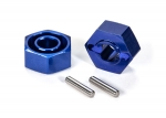 1654X Wheel hubs, hex (blue-anodized, lightweight aluminum) (2)/ axle pins(4)