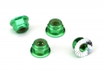 1747G Nuts, aluminum, flanged, serrated (4mm) (green-anodized) (4)