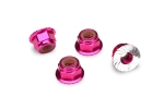 1747P Nuts, aluminum, flanged, serrated (4mm) (pink-anodized) (4)
