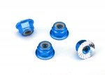 1747R Nuts, aluminum, flanged, serrated (4mm) (blue-anodized) (4)