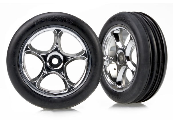 Traxxas 2471R Tires & wheels ,  assembled (Tracer 2.2' chrome wheels ,  Alias ribbed 2.2' tires) (2) (Bandit front ,  soft compound w /  foam inserts)