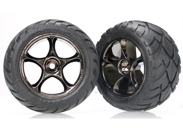 Traxxas 2478A Tires & wheels ,  assembled (Tracer 2.2' black chrome wheels ,  Anaconda® 2.2' tires with foam inserts) (2) (Bandit rear)