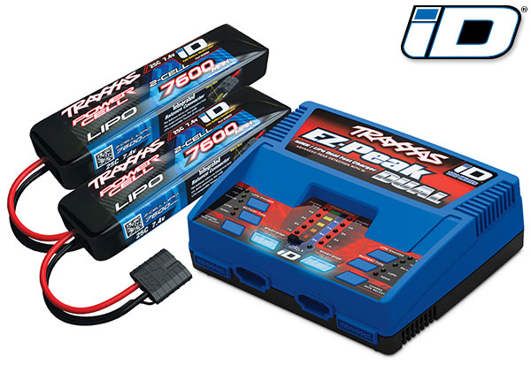 Traxxas 2991 Battery / charger completer pack (includes #2972 Dual iD® charger (1) ,  #2869X 7600mAh 7.4V 2-cell 25C LiPo battery (2))