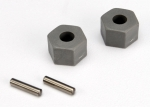 3654 Wheel hubs, hex (tall offset, Rustler®/Stampede® front) (2)/ axle pins (2.5x10mm) (2)