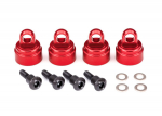 3767X Shock caps, aluminum (red-anodized) (4) (fits all Ultra Shocks)