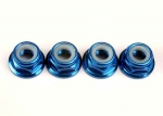 4147X Nuts, 5mm flanged nylon locking (aluminum, blue-anodized) (4)