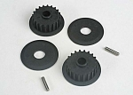 4895 Pulleys, 20-groove (middle) (2)/flanges (2)/ axle pins (2)