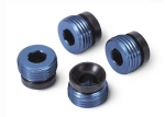 4934X Aluminum caps, pivot ball (blue-anodized) (4)