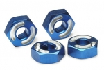 4954X Wheel hubs, hex,  6061-T6 aluminum (blue) (4)/ axle pins (2.5x10mm) (4)
