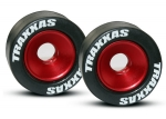 5186 Wheels, aluminum (red-anodized) (2)/ 5x8mm ball bearings (4)/ axles (2)/ rubber tires (2)