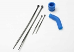 5245 Pipe coupler, molded (blue)/ exhaust deflecter (rubber, blue)/ cable ties, long (2)/ cable ties, short (2)