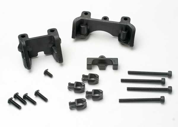 Traxxas 5317 Shock mounts (front & rear) /  wire clip (1) /  chassis wire clips (4) /  3x32mm CS (4) /  3x6mm BCS (1)