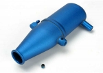 5342 Tuned pipe, aluminum, blue-anodized (dual chamber with pressure fitting)/ 4mm GS