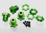 5353G Wheel hubs, splined, 17mm (green-anodized) (4)/ wheel nuts, splined, 17mm (blue-anodized) (4)/ screw pins, 4x13mm (with threadlock) (4)